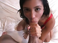 Blowjob, Brunette, Facial, Interracial, Teen